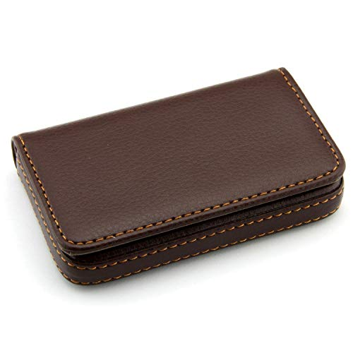 Storite Pocket Sized Stitched Leather Credit Debit Visiting Card Holder (Coffee Brown) 1
