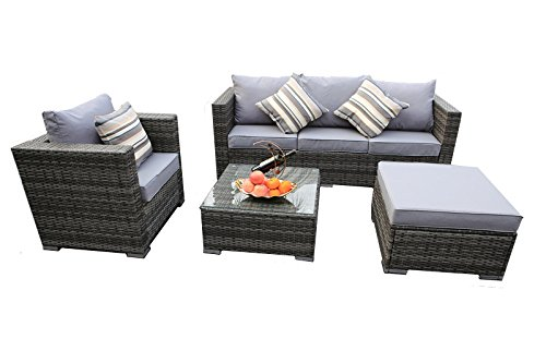 YAKOE 5-Seater New Rattan Garden Furniture Corner Sofa