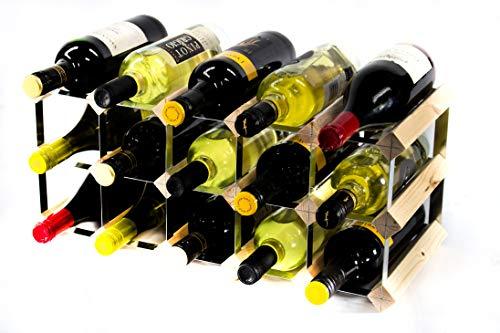 Cranville wine racks Cantinetta classica per 15 bottiglie di vino, realizzata in legno di pino e...