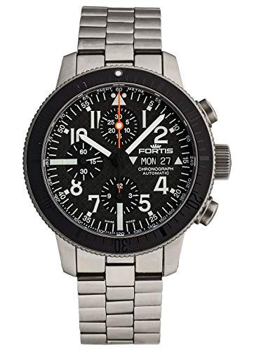 Fortis Herren-Armbanduhr B-42 Titanium Carbon Dial Chronograph Datum Wochentag Analog Automatik 638.27.51 M