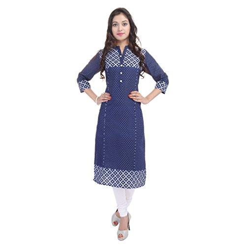 BLUEPOCKET Kurti / Kurta for women(Cotton, Polka Dots, Straight, Long, Indigo Blue)