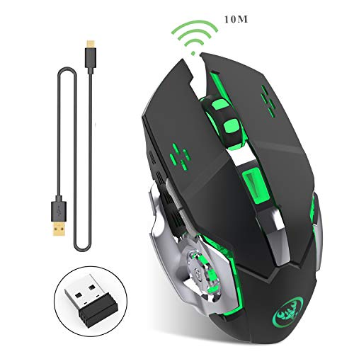 2.4Ghz Mouse da Gioco Wireless Ricaricabile con Ricevitore USB, Retroilluminazione a 7 Colori per...