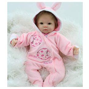 Simulación re-bebé, muñeca, regalo paño suave material de silicona cuerpo de la niña, muñeca acompaña