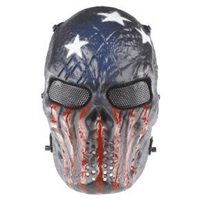 DFH Máscara Protectora de Halloween Máscara de Shantou de Sangre de Hierro Máscara Protectora de Cara Completa Máscara de Castigo de Terror y Miedo Capitán América
