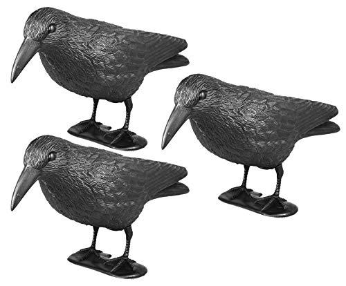 mgc24® Taubenschreck Rabe Lummy - Abwehr von Tauben, Möwen, Kleinvögeln - 3 Stück