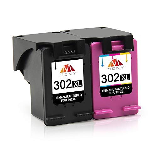 Mony Remanufactured Druckerpatronen Ersatz für HP 302 XL 302XL (1 Schwarz,1 Farbe) für HP Deskjet 3630 3636 2130 1110 Envy 4525 4520 4524 4527 Officejet 4650 4658 3833 Drucker, Europäische Chipversion