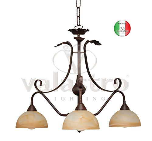 COD.24113 SP3 NR RUDY Made in Italy Lampadario a sospensione in Ferro Battuto 3 luci da Prodotto da...