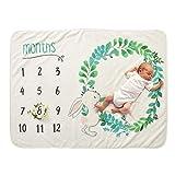Decdeal Couverture hebdomadaire mensuelle de bébé, 28 * 40in Flanelle Super Soft pour Fille garçon Ailes Florales Cadre de la Licorne Photo Nouveau-né Prop Prop