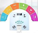 Balanzas Bluetooth, memoria de alta precisión Tecnología Track Digital Bluetooth Smart Scale 180 kg / 400lb de capacidad de peso, reconocimiento automático de 10 usuarios, mide peso, grasa corporal, a