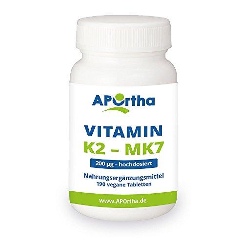 APOrtha Natto Vitamin K2 | Menaquinon MK7 | 200 µg |hochdosiert | 190 vegane Tabletten | 95+{8ee4c3aa2fb23cac0cd295c05e9bded0e2e03316736d4e5ff5c3cea37b5d97c4} All-Trans Menaquinon 7 - MHD 05/2019