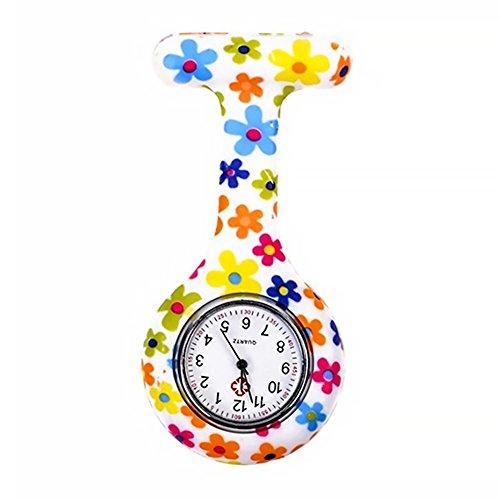 Grifri Tunica medica in silicone per infermieri, orologio al quarzo, a batteria, spilla impermeabile, design orologio, orologio da tasca per operai di assistenza sanitaria, infermieri e medici