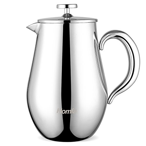 HOMFA Caffettiera a Pressofiltro Pistone in Acciaio Inox, French Coffee Press Omino Infrangibile e...