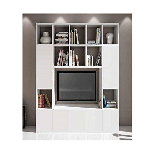 InHouse srls Set Soggiorno Composto da libreria e Porta TV Bianco frassinato, Stile Moderno, in MDF...