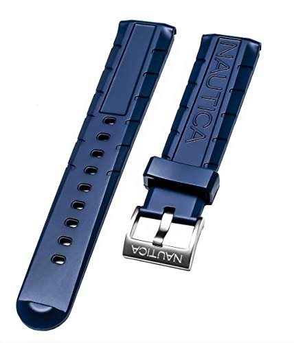 Nautica Men's NAD20005G NSR 103 Tide Temp Compass 22mm Original Blue Rubber Replacement Watch Band/Strap