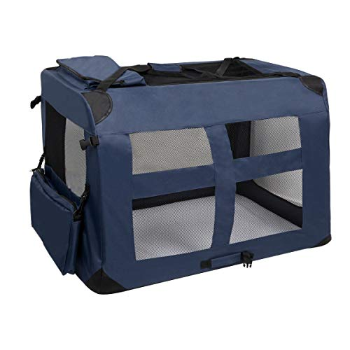 LEMAIJIAJU Caisse de Transport Chat Sac de Transport Pliable Cage de Transport pour Chien et Chat Animal Tissu Oxford Bleu Foncé - XXXL 102c... 15