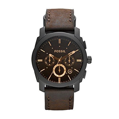 Fossil Herren Armbanduhr Machine mit braunem Lederband & großem, schwarzem Ziffernblatt – Armbanduhr mit Datumsanzeige & wechselbarem Lederarmband - im zeitlosen Industrial-Look