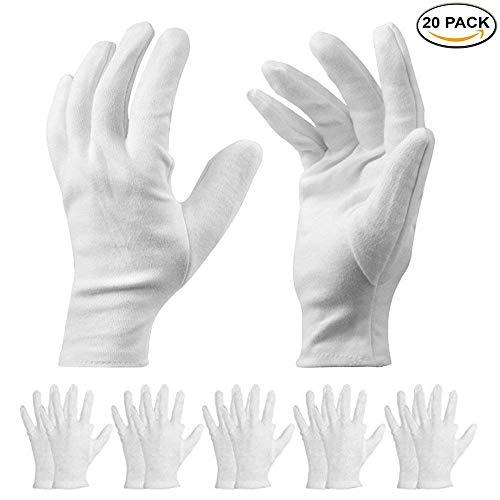 Guanti in cotone bianco da 20 pezzi - Guanti da lavoro L 7,5'- Guanti idratanti cosmetici per mani...