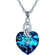 SIXLUO Collar para Mujer con Cristal Azul Corazón y en Plata esterlina