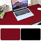 Tapis de Souris Bureau, 900 x 400x2mm Ultra mince Anti-dérapant et étanche PU cuir tapis de bureau Super-Portable tapis de bureau avec double côté pour les jeux et Sous-main bureau-Noir + Rouge