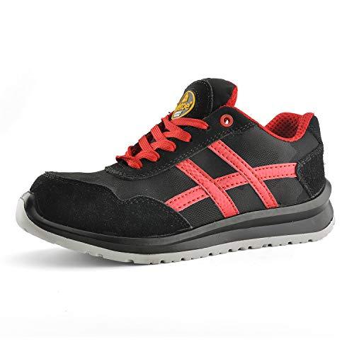 Zapatos de Seguridad Deportivos Ultra-Ligeros - SAFETOE 7329 Calzado de Seguridad Hombre Trabaja con Tus Pies Bien Protegidos (Talla 45, Negro)