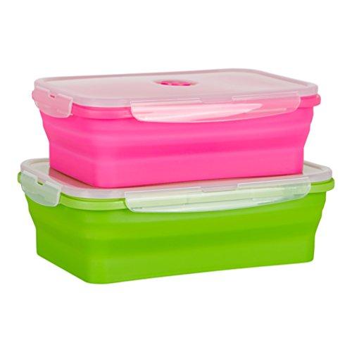 Flat Stacks Contenitori di stoccaggio della cucina alimentare in silicone pieghevole   Risparmio di...