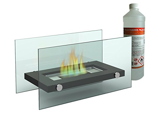 Decorative Table Fireplace / Glass Fireplace (34x17 cm) including 1 litre Bio Ethanol Fireplace for a cosy atmosphere