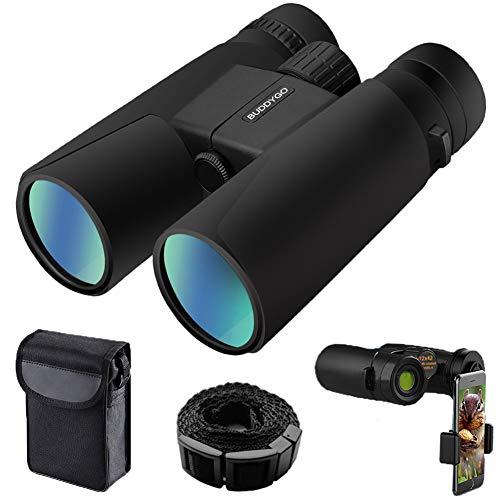 BUDDYGO Fernglas 10x42 Ferngläser für Erwachsene, Kompakt Teleskop Wasserdicht Feldstecher für Erwachsene Vogelbeobachtung, Sport, Geschenk Wandern, Camping und Reisen mit Tasche und Gurt