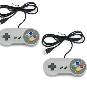 41bVctWcIHL - QUMOX 2 x Nintendo Juego de PC Gamepad Controlador SFC Mando de Juego para Super Famicom Windows PC USB