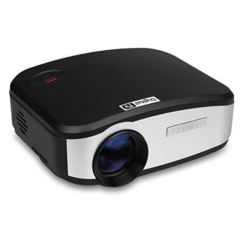 Cheerlux C6 - Proyector LED Portátil (800 x 400, 1080P, Altavoz Incorporada, HDMI USB VGA AV DTV), negro