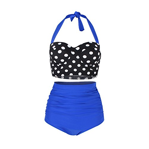 040c2f6929646 FeelinGirl Bikini Tankini 50er Damen Retro Vintage Bikini Sets High Waist Bademode  Badeanzug Neckholder Swimsuit