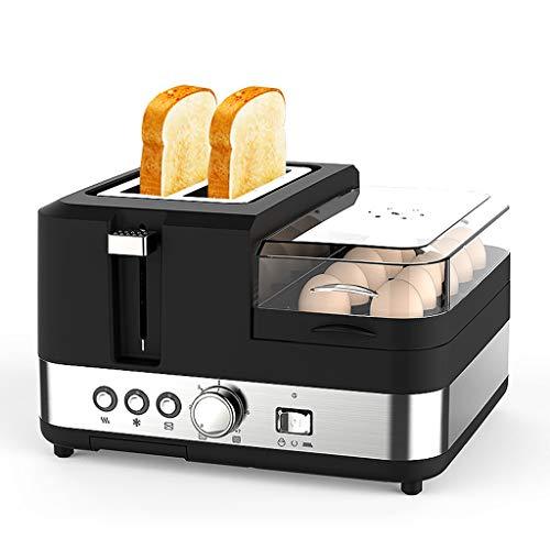 Xinjin Toast und Ei 2 Scheiben Toaster und Eierkocher, EIN- / doppelte beidseitige Heizung, 7 Bräunungsstufe - 1250 W - Schwarz - 29,8 × 28,8 × 18,2 cm
