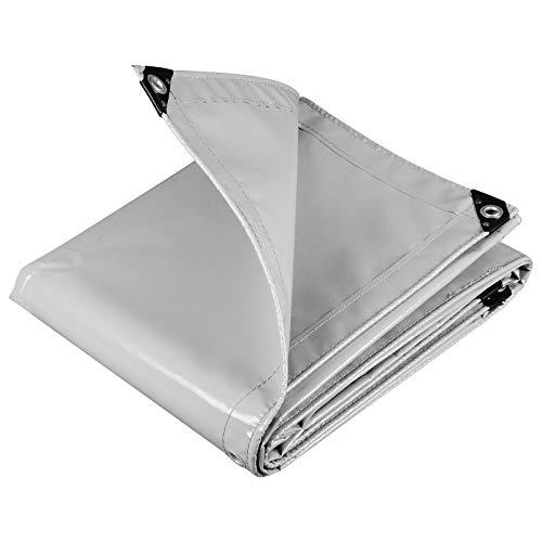 WOLTU GZ1208m02 Telone Occhiellato Impermeabile Telo di Protezione Pesante Antipioggia Copertura da Esterno PVC 500 g/m² 3x4 m Grigio Chiaro