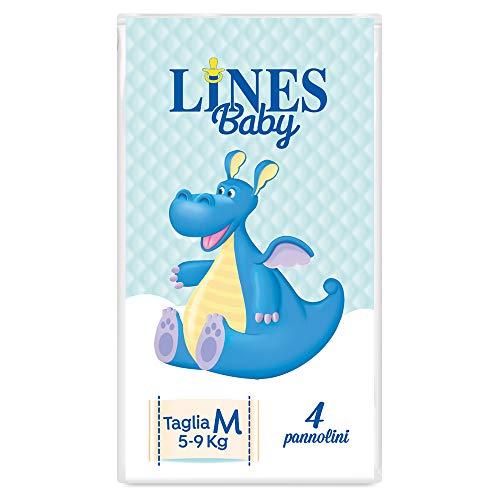 Lines Baby - Medium, 4 Pannolini, Taglia 3 (5-9 Kg),Confezione Prova