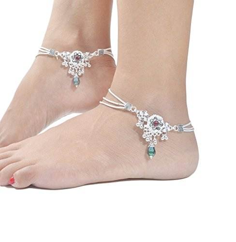 Charms Diva Silver Alloy Anklet for Girls & Women (Silver)(ANK171)