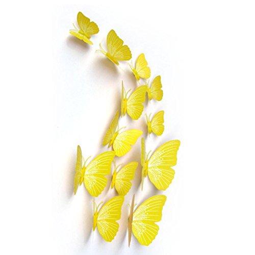 FAMILIZO 12Pc Mariposa CombinacióN 3D Espejo De Pared Pegatinas Del Hogar De La DecoracióN De Diy (Amarillo)
