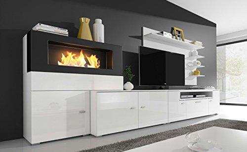Home Innovation- Mobile Soggiorno- Parete da Soggiorno con biocamino a bioetanolo, finiture bianco...