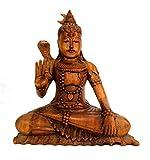 Artisanal Estatua de Shiva Sentado H30cm (Madera Maciza Tallado Tono marrón