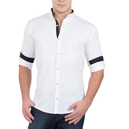 GHPC Cotton Stand Collar Casual Shirt(CS62312_White_38)
