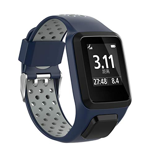 MCO Bracelet Tomtom Adventurer Montre,Bracelet De Rechange en Silicone pour Tomtom Runner 2 / Runner 3 / Spark 3 / Aventurier/Golfeur 2 Sports GPS Running (Blu&Grigio)