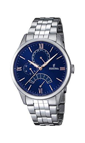 Festina F16822/3 orologio al quarzo da uomo, quadrante blu, display analogico e cinturino argentato...