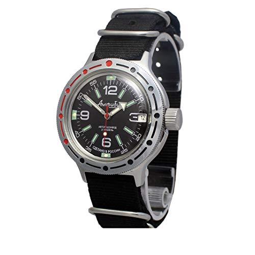 Vostok Amphibian #420640 Russian Military Diver Mechanical AUTO Self-Winding Wrist Watch Nato
