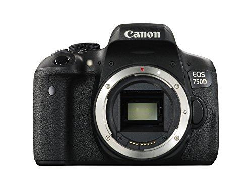"Canon EOS 750D Body - Cámara réflex digital de 24.2 Mp (pantalla 3"", estabilizador óptico, grabación de vídeo Full HD, DIGIC 6), color negro"