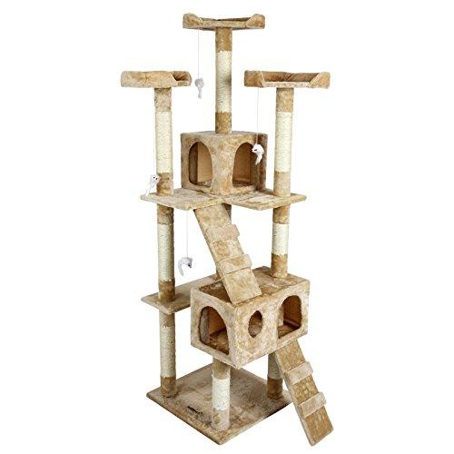 katzeninfo24.de Katzen Kratzbaum mittelhoch ca. 170cm beige mit vielen Spiel und Kuschelmöglichkeiten