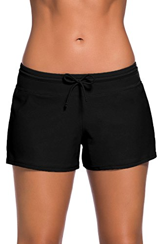 Boldgal Women's Bathing Costume Swim Shorts (Black) 4