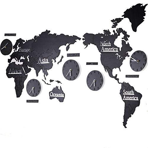HYSQTGZ Orologi da Parete Creativo Mondo Mappa Orologio da Parete Soggiorno Decorazione della Parete Ciondolo Elettrodomestici Orologio B