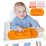 EasyMat Mini Portable Baby Suction Plate with Lid, Folding Sides and Carry Case (Orange)
