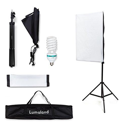 Lumaland Kit Fotostudio professionale per Set Fotografico Softbox 50x70 cm Luci cavalletto treppiedi...