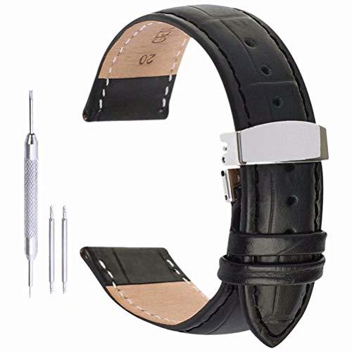 cinturino pelle Cinturino di sostituzione del cinturino di vigilanza fascia di cuoio di alligatore stile chiusura di distribuzione a farfalla 17mm
