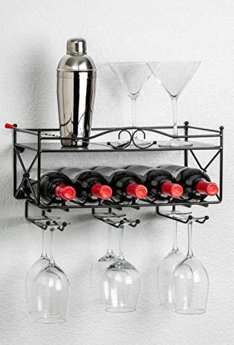 Mango Steam Porta Vino con ripiano e Supporto per Bicchieri in Vetro a Stelo