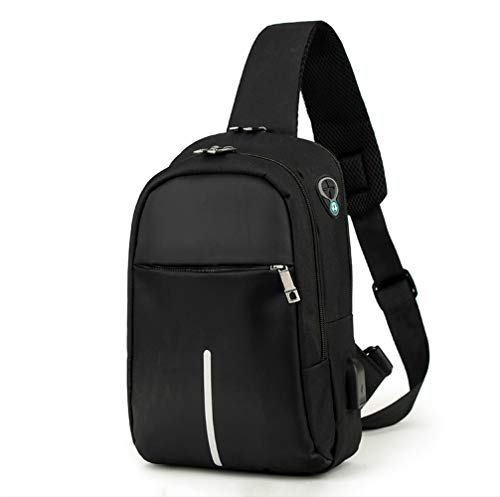 DiQi Men's Nylon Fashion Anti Theft Sling Bag Shoulder Chest Cross Body Backpack Lightweight Business Wind Casual Daypack (Black)